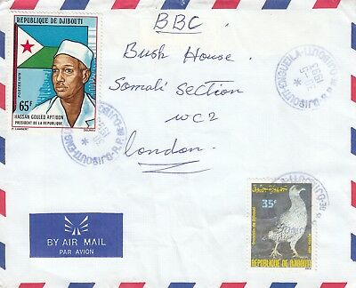 U 3011 Djibouti Engueila May 1993 air cover UK; two stamps