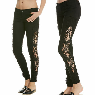 US Women Black Lace Hollowed Jeans Denim Trousers Leggings Skinny Pencil Pants