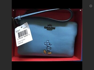 Disney X Coach Mickey Mouse Blue Leather Corner Zip Wristlet Small Clutch 56266B
