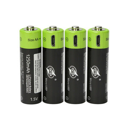 ZNTER 1.5V AA 1250mAh Lithium Rechargeable Battery MICRO USB Charging