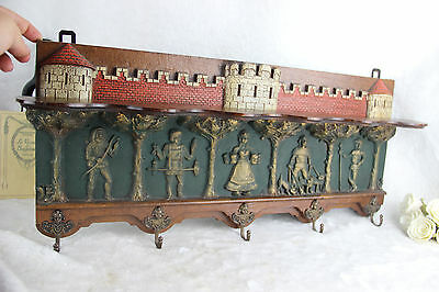 French Medieval Castle knights Figurines angels wood Hall wall coat rack 1970's