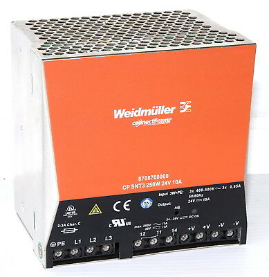 Weidmuller CP-SNT3-250W-24VDC-10A Power Supply  400/500VAC to 24VDC 10A
