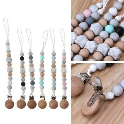 Newborn Baby Soother Clips Silicone and Beech Wood Pacifier Clips Chain Chew Toy