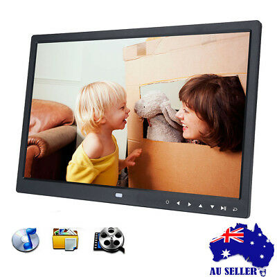 """15"""" HD 1080P LED Digital Photo Picture Frame Movie Player Remote Control Black"""
