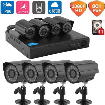 HD 1080P 8CH PoE HD NVR 4x Indoor Outdoor IP66 CCTV Security Cameras System-MA