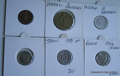 6 X Mixed World Coin's General Mix Modern World In 2X2 Holders #rye5