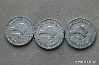 Group Of 3 New Zealand Florins Circulated Predecimal Coins   #rnt70