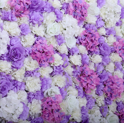 ARTIFICIAL FLOWER ROSEHYDRANGEA WALL PANEL WEDDING BACKGROUND BACKDROP-Purple