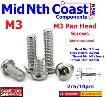 2/5/10pc  M3 x 3-50mm Pan Head Bolts/Screws Phillips 304 Stainless Steel