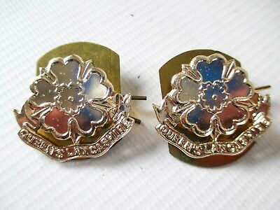 British Army Staybrite Collar Badge Pair - Queens Lancashire Regiment