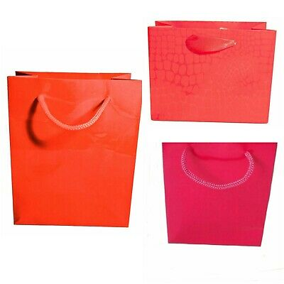 Pack of 6 Glossy Gift Bags With Matching Cord Handles Gifts Wholesale Bulk Buy