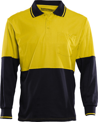 Workhorse HI-VIS POLO SHIRT MSH065 Long Sleeve YELLOW/NAVY- Size S, M, L Or XL