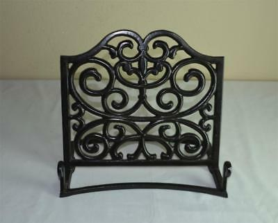 Ornate Black Enamel Cast Iron Cookbook Book Stand Rest Holder Display Easel