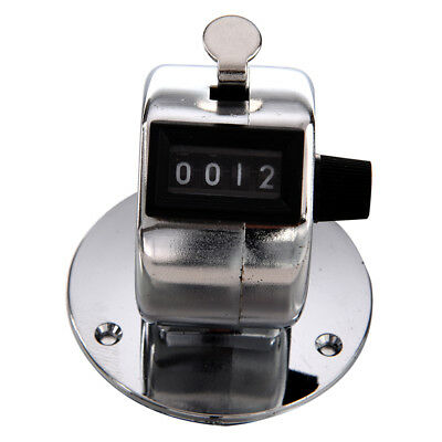 Round Base 4 Digit Manual Hand Tally Mechanical Palm Click Counter L3P7