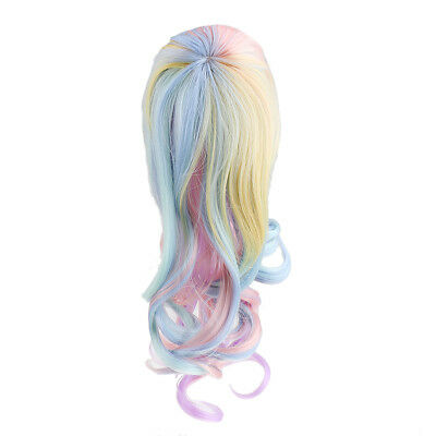 Dolls Colorful Wavy Curly Hair Wig Hairpiece For 1/6 Blythe Doll Accessory
