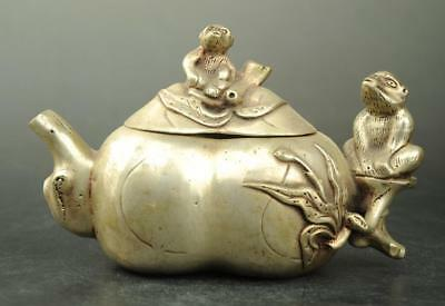 China old copper plating silver hand engraving monkey teapot / qianlong mark e01