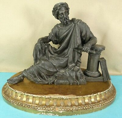 Superb French Bronze Statue Greek Writer Sophocles Pen Book Column Scroll Ca1850