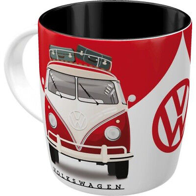 Retro Ceramic Mug 'VW T1 KOMBI' GOOD IN SHAPE Volkswagen Red Licensed Bulli