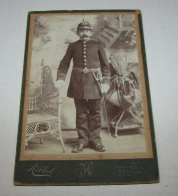 CIRCA 1900's MILITARY CABINET PHOTOGRAPH SOLDIER WITH WEAPONS AND SPIKE HELMET
