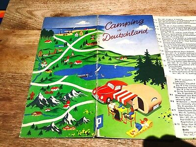 Camping in Deutschland-German Central Tourist Assoc-1952-Map-Fab Graphics-Orig.