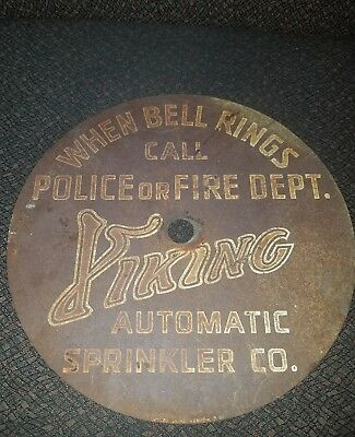 Vintage VIKING SPRINKLER Alarm Sign 10 inch Bell Rings Call Fire Police Scioto