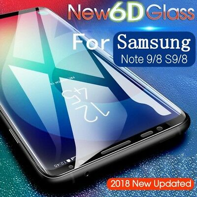 6D Tempered Glass Full Cover Screen Protector Guard For Samsung Galaxy Note 9 S9