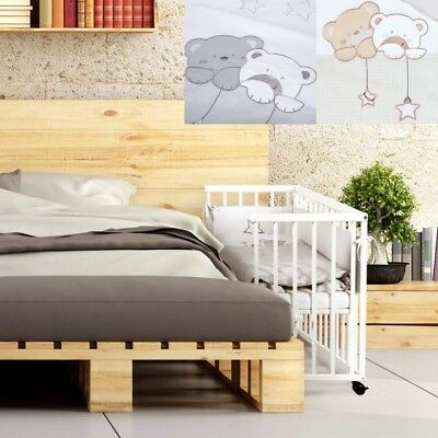 Wooden Small Baby Bed Bedside Cot 2In1 Piccolo + 6-Pcs Bedding Set + Mattress