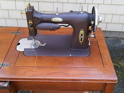 Antique White Sewing Machine Rotary Style In Cabinet