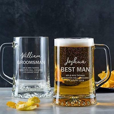 Personalised Best Man Gift Pint Glass Tankard Groomsmen Wedding Thank you Gifts
