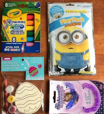 Lot/4 Easter Basket Items Markers Wooden Ornament Minions Play Pack Jewelry NEW