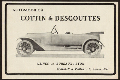 1916 COTTIN & DEGOUTTES Vintage Antique Original Print AD Convertible car France
