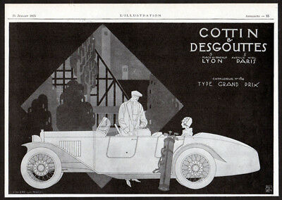 1925 COTTIN & DEGOUTTES Vintage Antique Original Print AD Convertible car France