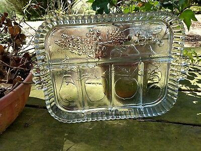 "Grandmother's Vintage 9"" X 12"" Clear Glass Pressed Handled Relish Dish On Sale"