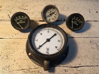 Lot of 4 Vtg Gauges Ashcroft/Akron OH/Rochester NY Steampunk Upcycle Untested