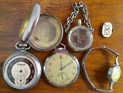VINTAGE & ANTIQUE WATCH PARTS/CASES for SPARES OR REPAIR