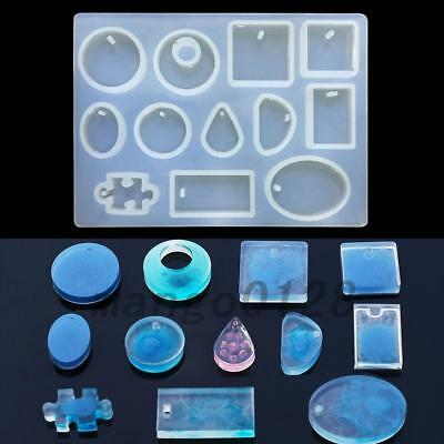 12x Silicone Mould Mold for DIY Resin Round Necklace jewelry Pendant Maker Tool