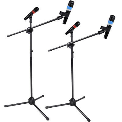 Pair of Professional Boom Microphone Mic Stand Holder Adjustable With Free Clips