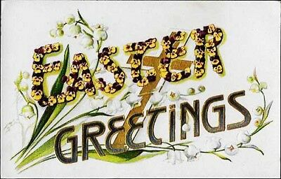 Antique~EASTER GREETINGS~Postcard~Gold cross/Pansies/Lily of Valley~Germany~wrtn