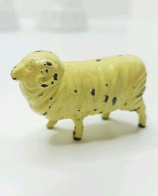 Antique Cast Iron Metal Ram Sheep Toy Collectible Painted Figurine