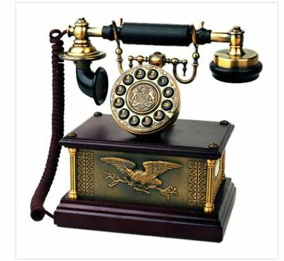 Retro Rotary Telephone Antique Phone 1911 American Eagle Brass Real Working New