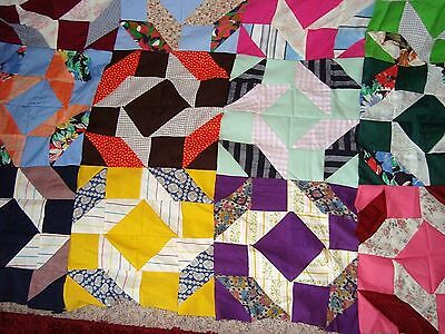 """VINTAGE CRAZY QUILT TOP Approx. 86"""" by 80"""" Un-used antique Quilt Top"""