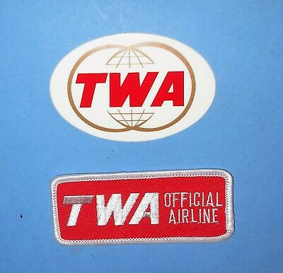 Twa Official Airlines Hat Cap Patch Double Globes Window Glass Sticker Lot Nos