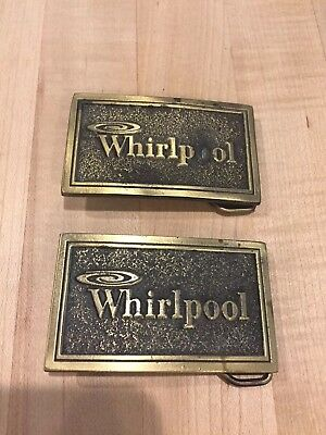 Pair Of Whirlpool Home Appliances Vintage Brass Belt Buckle 1976  MADE IN USA