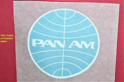 Pan Am Airlines Aviation Ad T Shirt Iron 3 Inch Decal Blue Globe Logo Nos