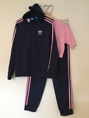 Adidas girls 3pc tracksuit top bottoms t shirt size 11-12 years WORN ONCE    kj