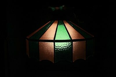 Vintage Two Tone Green/Tan Leaded Stained Glass Hanging Ceiling Light Shade