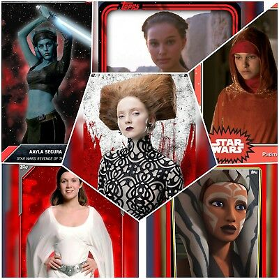 Topps Star Wars Card Trader - Pick Lot of ANY 18 Red Base Cards - Jyn Rey Ahsoka