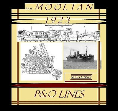 Rms MOOLTAN 1923 P&O: Complete Retractable GA Deck Plans and Profile. NEW