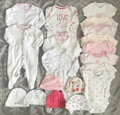 Baby Girls 0-3 Months Clothes Bundle Sleepsuits Vests Tights Hats Next George
