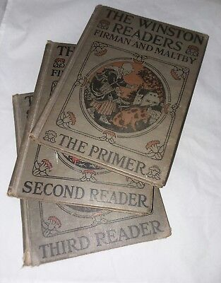 Antique Winston Readers Primer Second Third Furman and Maltby 3 Books